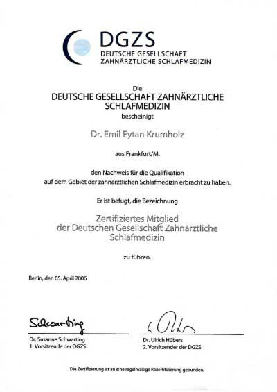 Dr. Emil E. Krumholz ist DGZS zertifiziert